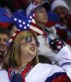 A USA hockey fan cheers