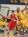 Brandon Simister of Dixie State dribbles
