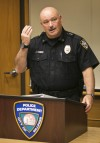 Police Chief Rich St. John holds a presss conference