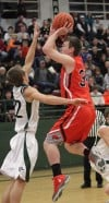 Senior's Tad Rose, 34, puts up a shot as Central's Blayne Sandau, 22 defends