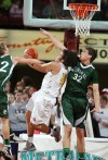 Blayne Sandau (22) and Daniel Meyer of Central defend