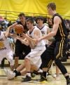 Players fight for a rebound