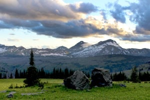 Fifty Mountain: Glacier Park camp surrounded by summits