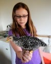 Emma Phipps and her chicken