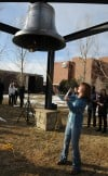MSU Billings student Audrey Econom rings the bell