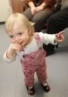 Cystic fibrosis patient Adair Mehling, 18 months, explores