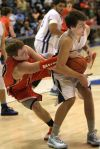 Senior's Joe Zimmer, 10, and Skyview's Jacob Smyle, 5, battle for the ball