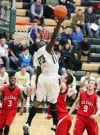 John Bayo of Rocky Mountain College reaches for a ball