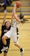 West's Danielle Muri looks to shoot as Bozeman's Shanae Gilham