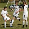 West's Koby Reyes, 9, Luke Ashmore, 11, and Jeff Wilson celebrate