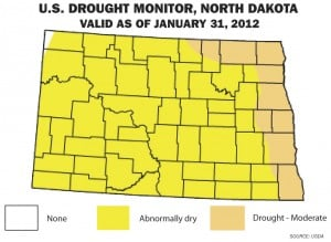 North Dakota now 'abnormally dry' after low-snow winter