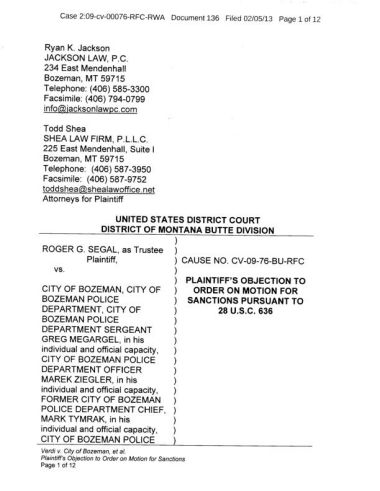 Plaintiff's objection in Segal v. Bozeman police