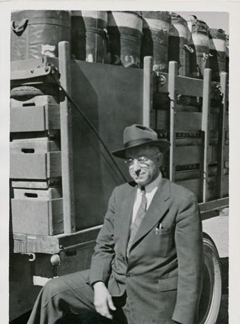 Carl Wilcoxson by Park truck