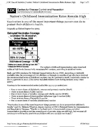 CDC report on vaccination in the U.S.