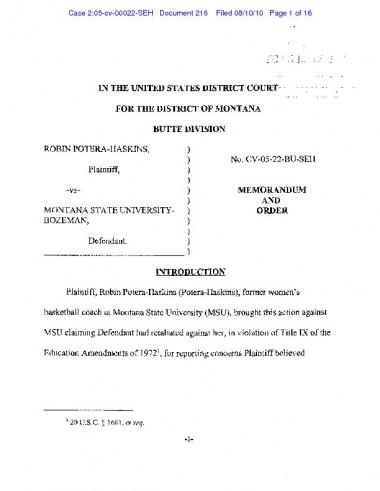 Potera-Haskins ruling