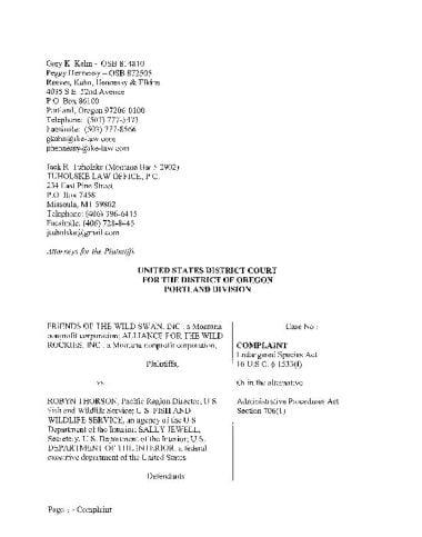 Lawsuit against FWS over trout protection plans