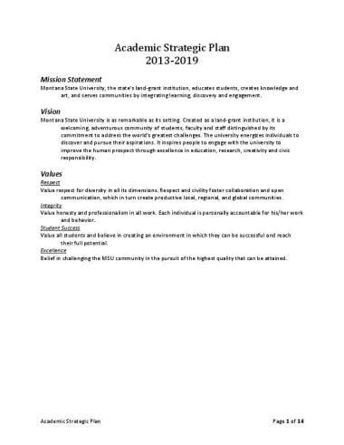 MSU Academic Strategic Plan