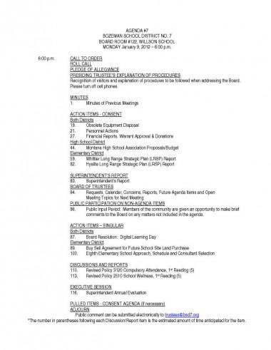 Bozeman School Board Agenda for Jan. 9, 2012
