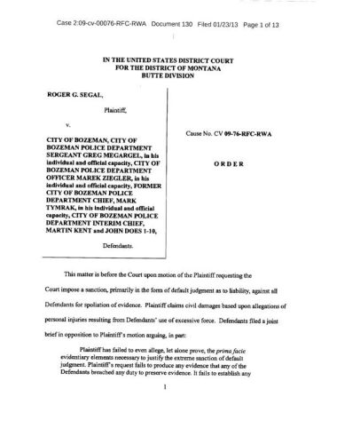 Order in Segal v. Bozeman police lawsuit