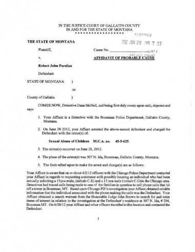 Affidavit for Robert John Parelius