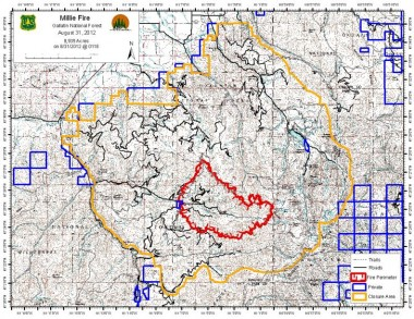 Millie fire map for 8/31