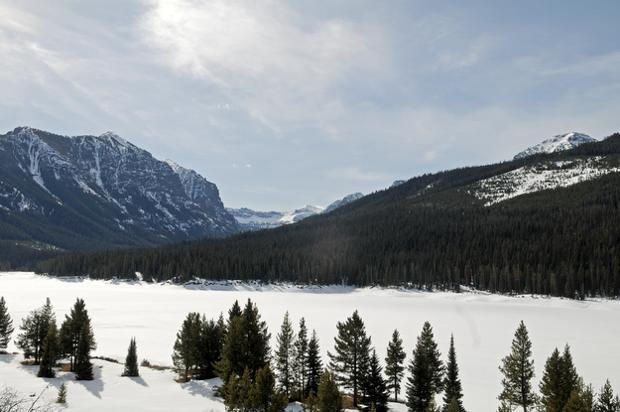 Hyalite reservoir in winter