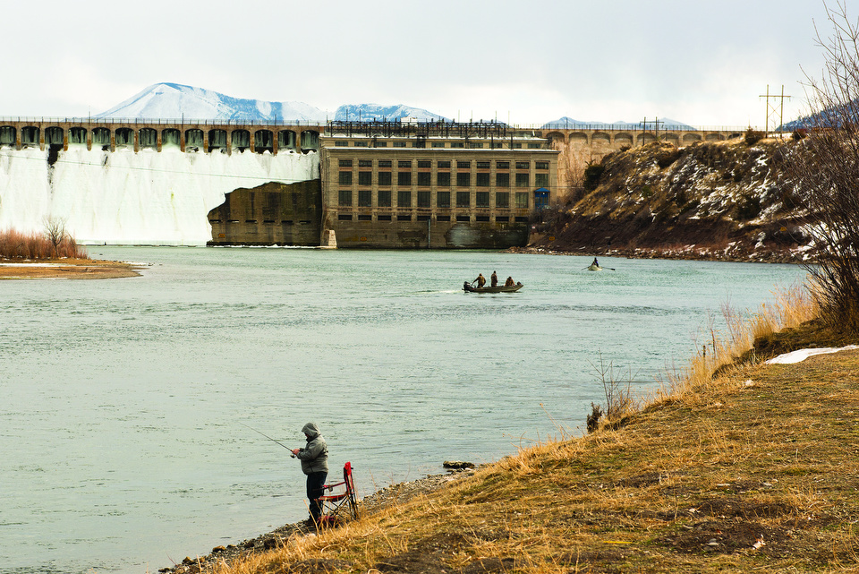 Fishing beneath Holter Dam