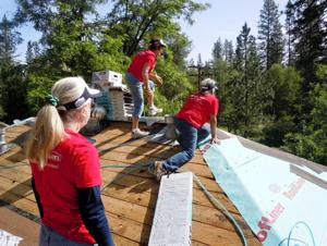 <p>Habitat for Humanity of Calaveras volunteers in May of 2014 gathered to help repair a leaky roof in Rail Road Flat.</p>