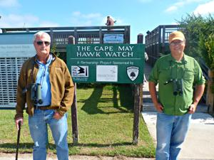 Peter Dunne, the Hawkwatch founder, former CMBO Director and current CMBO Birding Ambassador, and David La Puma, current CMBO Director.