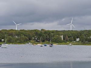 Falmouth Wind Turbines Viewed From Chapoquoit Beach Area