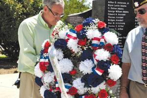 <p>From left, American Legion Post 46 3<sup>rd</sup> Vice Commander David Clark and Commander Bob Pyer adjust a wreath placed at the Veterans Memorial in Bayview Cemetery in Morehead City during a Memorial Day ceremony Monday. (Cheryl Burke photo)</p>