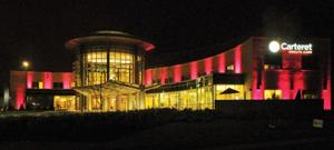 Pink lights illuminate Carteret Health Care on Oct. 1 in honor of