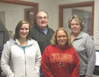 <p><strong>The telecommunications staff that works in the Communications Center at the Lucas County Law Center. Front from left are Communication/Correctional Officers Naomi Vander Vort and Dixie Shounkwiler. In back from left is Communication/Correctional Officer Jeff Richards and Communications Administrator Lori Graves. Not pictured are Communication/Correctional Officers Curt Catron and Natalie Marts.</strong></p>
