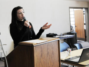 <p>Teresa Meyer addresses the Bemer County Democratic convention on Saturday after making an announcement that she plans to run for District 63 in the Iowa Legislature, against Rep. Sandy Salmon.</p>
