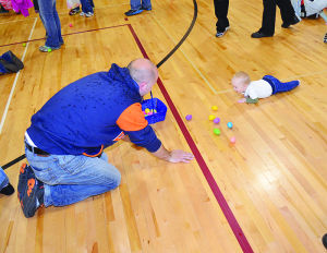 <p>Egg hunters young and old enjoyed being inside on a rainy Palm Sunday for the annual Easter Egg Hunt.</p>