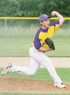 <p>Oelwein's Jake Smith delivers this pitch Saturday.</p>