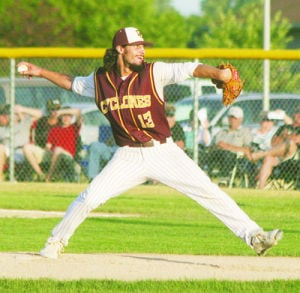 <p>Denver's Brenden Matthias delivers a pitch during Tuesday's substate game in Oelwein against Don Bosco.</p>