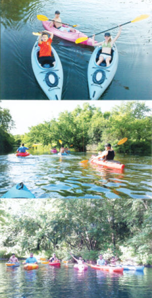 <p>The Buzyinskis have been paddling in kayaks since they were very young. From left, Issac, Andrew (in the back) and Abby.</p>