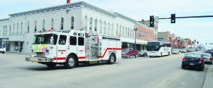 <p>The Independence Fire Department escorted the Jazz Bands through downtown Thursday with the new fire truck.</p>