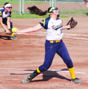 <p>North Butler's Taylor Graven delivers a pitch during the Class 2A state tournament last week in Fort Dodge.</p>