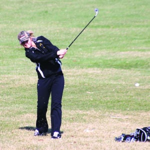 <p>Waverly-Shell Rock's Renae Kane sends her shot toward the green during Thursday's invite against Crestwood at the Waverly Municipal Golf Course.</p>
