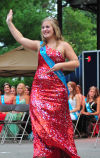 Fayette County Queen Jensen Winter, 17, of Hawkeye, is introduced during the Iowa State Fair Queen Coronation Ceremony on the Anne and Bill Riley Stage at the Iowa State Fair on Aug. 9. (Iowa State Fair/ Steve Pope Photography)