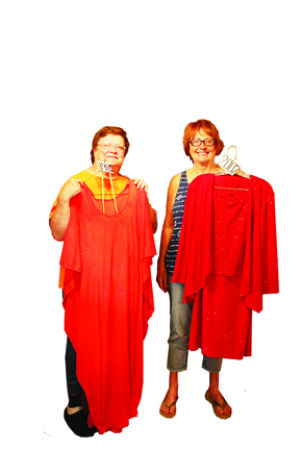 <p>Linda McCann and Barb Harken show off two show outfits when Barb was in the Spring Swing show. Together, the pair are writing a book about the show's history.</p>