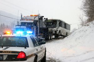 Tour bus crash on snowy Pa. road injures more than 20