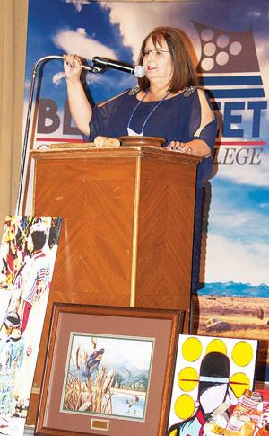 <p>Dr. Billie Jo Kipp, President of Blackfeet Community College, welcomed a sold-out crowd to the Black Tie and Blue Jeans fundraiser last Saturday night at the Cut Bank Elks. Dr. Kipp shared many exciting updates about BCC, including free education for all students–regardless of race–during their first semester at BCC; seamless transferring of BCC credits to any university or college in the Montana university system; and the upcoming construction of a new Health Education Science Center, with groundbreaking set for July.</p>