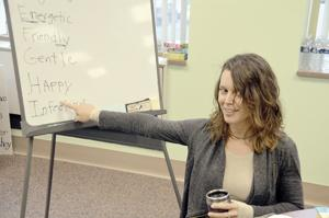 <p>Speech therapist Carrie Vitko has been assisting members of the Apahsai Center since it reopened in January.</p>