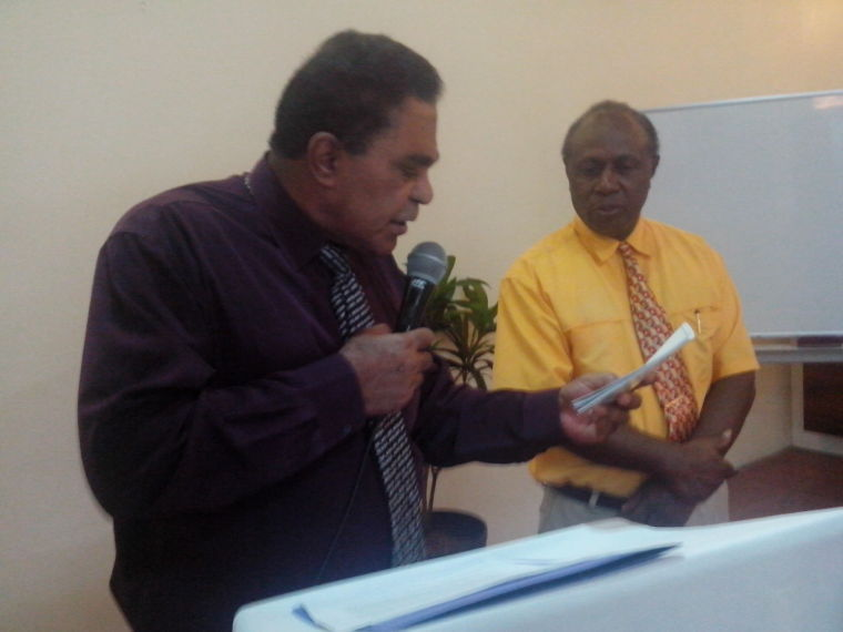 Justice Minister Alfred Carlot,launching the UPR National Action Plan watched by DG Mark Bebe