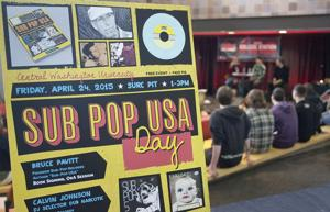 <p>Calvin Johnson, Bruce Pavitt, and Mark PIckerel take questions from those attending Sub Pop USA Day in Central Washington University's SURC Pit, Friday, April 24, 2015.</p>