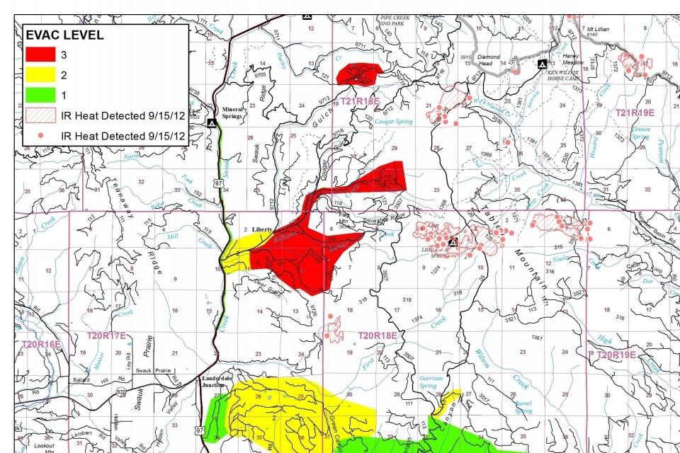 Wildfire evacuation areas Sept. 15