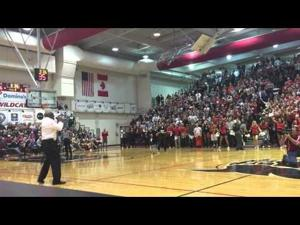 "Wanz sings ""Thrift Shop"" hook during Central Washington University's game against Wes"